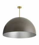Rhys Grand Dome Pendant | Taupe & Silver