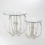 Ringed Nickel Side Tables