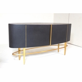 Royce Leather Buffet Cabinet | Black