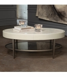 Royce Leather Coffee Table | Ivory