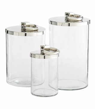 Rydel Glass Jars | Nickel
