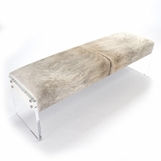 Salvador Cowhide & Lucite Bench