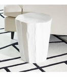 Saxon Ceramic Log Stool | White