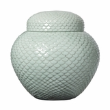 Scalloped Ceramic Celadon Jar
