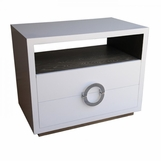Simon Side Table w/Recessed Base, Two-tone