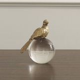 Songbird Crystal Sculpture | Brass