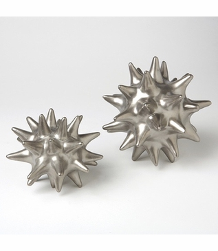 Spiky Deco Spheres | Satin Silver