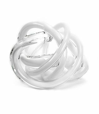 Tangled Large Glass Knot | Opaque White