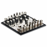 Tazi Horn Chess Set | Black Lacquer & Glass