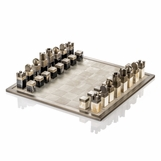 Tazi Horn Chess Set | Leather & Brass