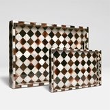 Velma Horn Checkered Tray Set