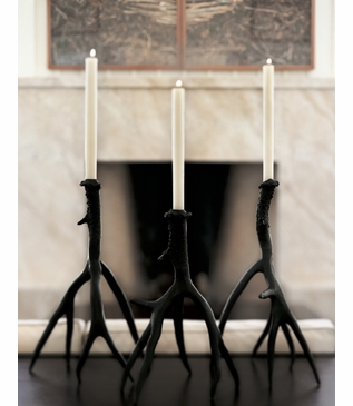 Whitetail Bronze Candlesticks | Set of 2