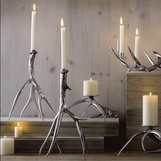 Whitetail Candlesticks Set | Silver