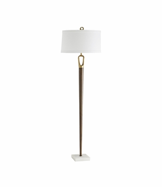 Wilton Wood & Brass Floor Lamp