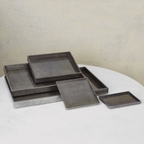 Yen Lacquered Trays   Charcoal Leaf