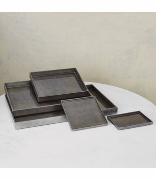 Yen Lacquered Trays | Charcoal Leaf