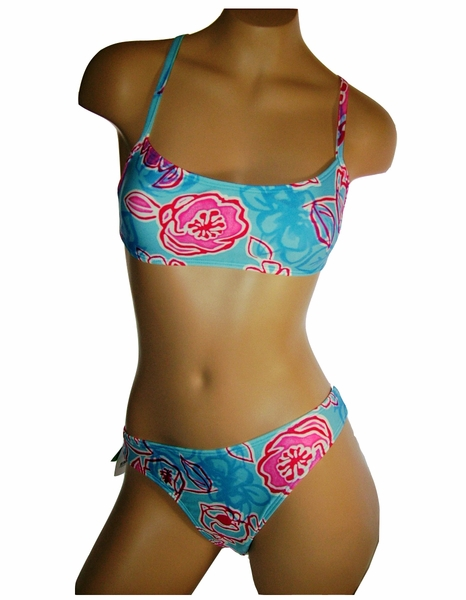 Maui Wear t001-b001 women's bikini set brazilian lycra red leaf