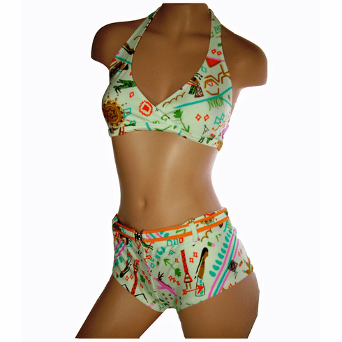 Maui Wear T014 - B606 women's bikini set front cross, adjustable