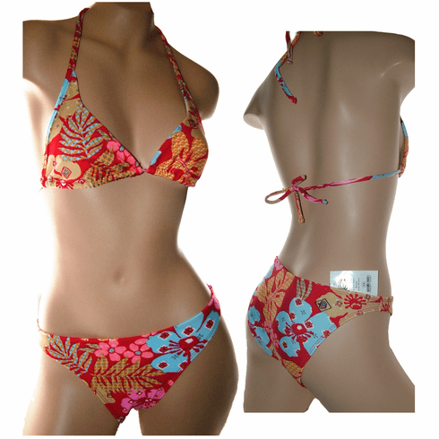 Women halter triangle Top, Basic Bottom 2 Piece Floral Bikini Set, Lined, t22-b4