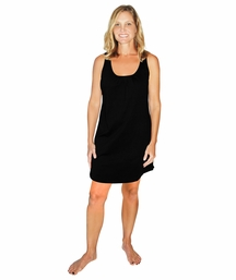 MOISTURE WICKING GATHERED SCOOP NECK TANK GOWN/COVER-UP