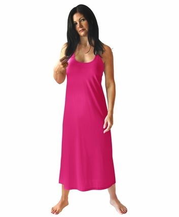 MOISTURE WICKING LONG RACERBACK TANK GOWN WITH SHELF BRA