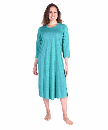 MOISTURE WICKING LONG SCOOP NECK NIGHTGOWN WITH 3/4 SLEEVES