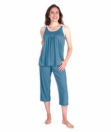 MOISTURE WICKING PLEATED TANK CAPRI SET