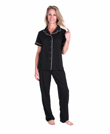MOISTURE WICKING SHORT SLEEVE BUTTON FRONT PJ SET