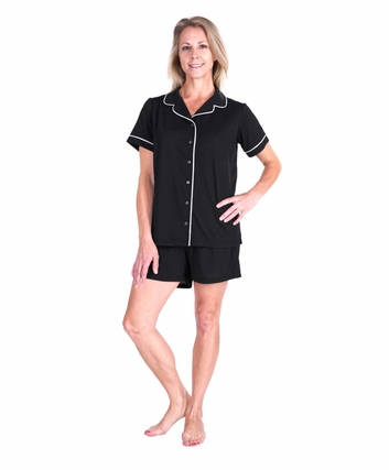 MOISTURE WICKING SHORTY BUTTON FRONT PJ SET