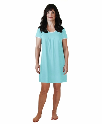 PLEATED FRONT MOISTURE WICKING SHORT SLEEVE NIGHTIE