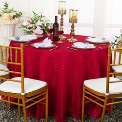 "108"" Paillette Poly Flax / Burlap Round Tablecloths (10 Colors)"