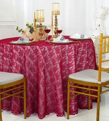 """108"""" Round Lace Table Overlay - Apple Red 90808(1pc/pk)"""