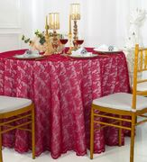 "108"" Round Lace Table Overlay - Apple Red 90808(1pc/pk)"