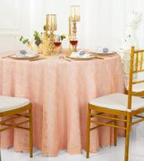 "108"" Round Lace Table Overlay - Apricot/Peach 90831 (1pc/pk)"