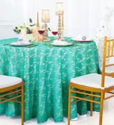 "108"" Round Lace Table Overlay - Tiff Blue / Aqua Blue 90818(1pc/pk)"