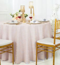 """108"""" Round Lace Table Overlay - Blush Pink 90815 (1pc/pk)"""