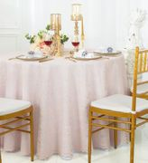 "108"" Round Lace Table Overlay - Blush Pink 90815 (1pc/pk)"