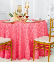 """108"""" Round Lace Table Overlay - Coral 90806(1pc/pk)"""