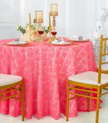 "108"" Round Lace Table Overlay - Coral 90806(1pc/pk)"
