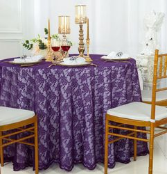 """108"""" Round Lace Table Overlay - Eggplant 90845(1pc/pk)"""