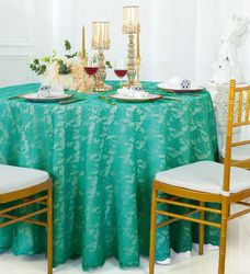 """108"""" Round Lace Table Overlay - Jade 90826(1pc/pk)"""