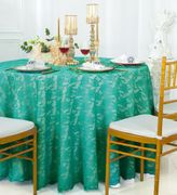 "108"" Round Lace Table Overlay - Jade 90826(1pc/pk)"