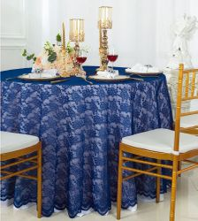 """108"""" Round Lace Table Overlay - Navy Blue 90823(1pc/pk)"""