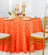 "108"" Round Lace Table Overlay - Orange 90833 (1pc/pk)"