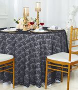 "108"" Round Lace Table Overlay - Pewter/Charcoal 90860 (1pc/pk)"
