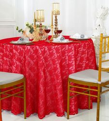 """108"""" Round Lace Table Overlay - Red 90812 (1pc/pk)"""