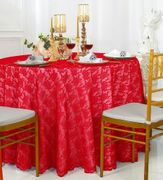 "108"" Round Lace Table Overlay - Red 90812 (1pc/pk)"