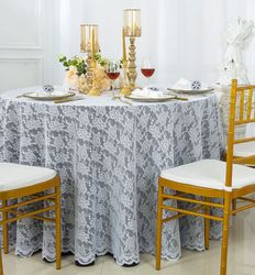 """108"""" Round Lace Table Overlay - White 90801 (1pc/pk)"""
