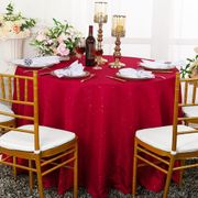 "108"" Round Paillette Poly Flax / Burlap Tablecloth - Apple Red 10708 (1pc/pk)"