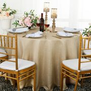 "108"" Round Paillette Poly Flax / Burlap Tablecloth - Champagne 10728 (1pc/pk)"